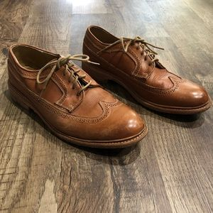 Frye Jones Wingtip Lace Up Leather Tanned Shoes